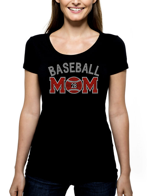 Baseball Mom Custom Number RHINESTONE T-Shirt or Tank Top - BLING Sport Mother