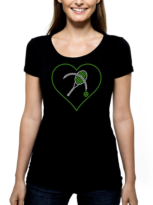 Tennis Heart RHINESTONE T-Shirt or Tank Top - BLING Team Match Play