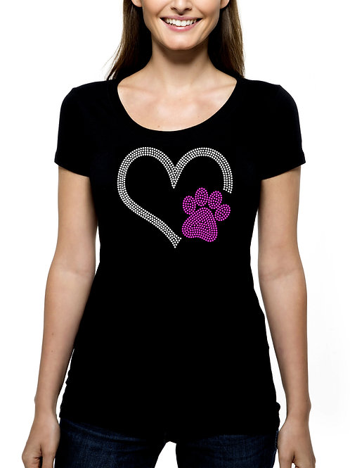 Heart with Paw RHINESTONE T-Shirt or Tank Top - BLING Animal Dog Cat Pet
