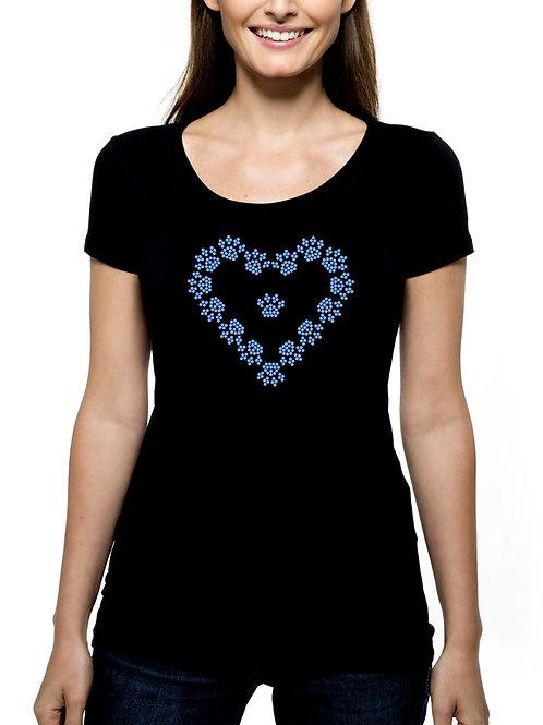 Paws Form Heart 2 RHINESTONE T-Shirt or Tank Top - BLING Animal Pet Paw Dog Cat