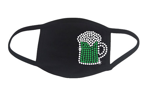 RHINESTONE Green Beer face mask cover - St Patrick's Day Pub Crawl celebrate