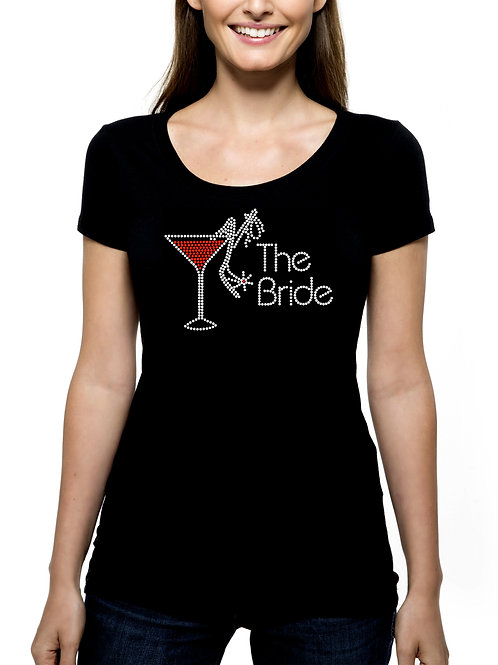 The Bride Martini Shoe RHINESTONE T-Shirt or Tank Top - BLING Bachelorette Party