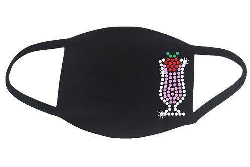 RHINESTONE Strawberry Daquiri face mask cover - bling glass drink cocktail rum