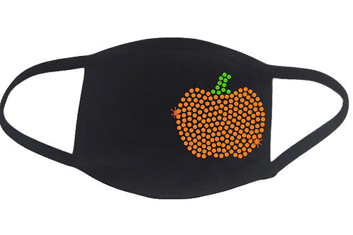 RHINESTONE Pumpkin 1 face mask - bling season autumn fall Halloween Thanksgiving