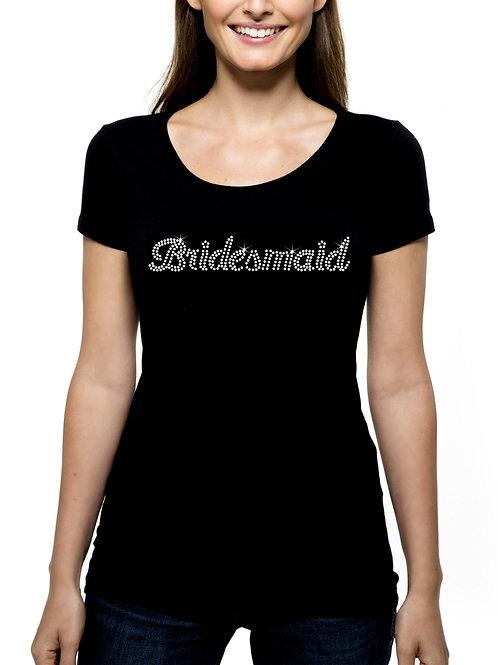 Bridesmaid RHINESTONE T-Shirt or Tank Top BLING Cursive Wedding Bridal