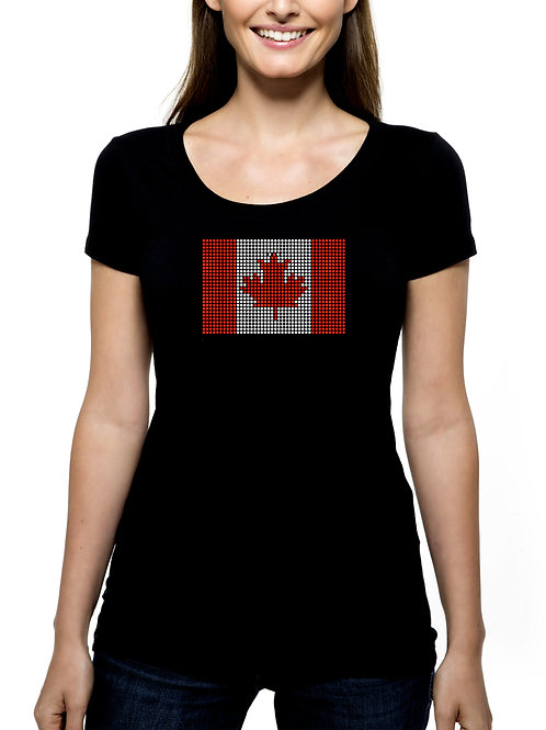 Canadian Flag RHINESTONE T-Shirt or Tank - BLING Canada Maple Leaf Pride Love