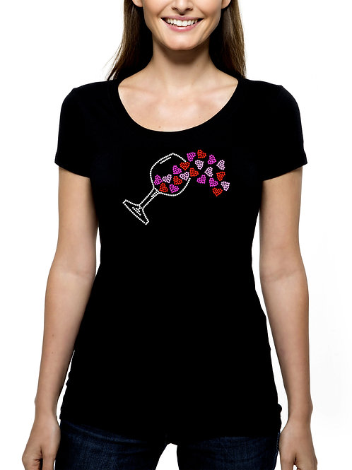 Wine Spilling Hearts RHINESTONE T-Shirt or Tank Top - BLING Love Cocktail Winery
