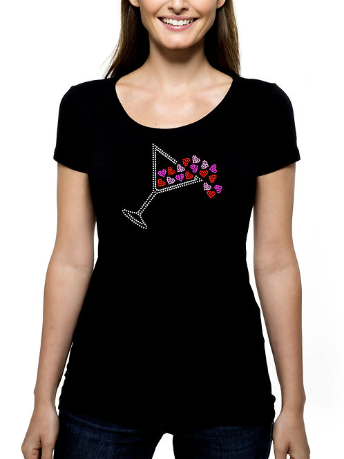 Martini Spilling Hearts RHINESTONE T-Shirt or Tank Top - BLING Love Cocktail