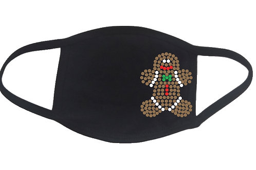 RHINESTONE Gingerbread Man face mask - bling Christmas Xmas X-mas Eve