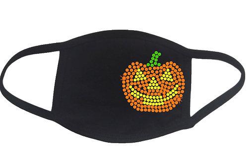 RHINESTONE Jack-o-Lantern Halloween face mask - bling spooky scary pumpkin carve