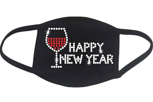 RHINESTONE Happy New Year Wine Glass face mask cover - bling vino holiday NY Eve