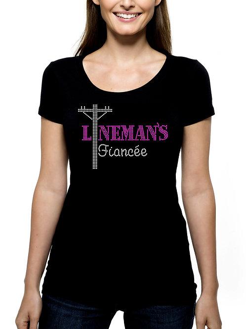 Lineman's Fiancee RHINESTONE T-Shirt or Tank Top - BLING Journeyman Power Worker