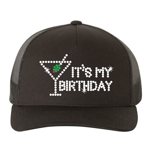 RHINESTONE Hat - It's My Birthday Martini - bling trucker snapback cocktail