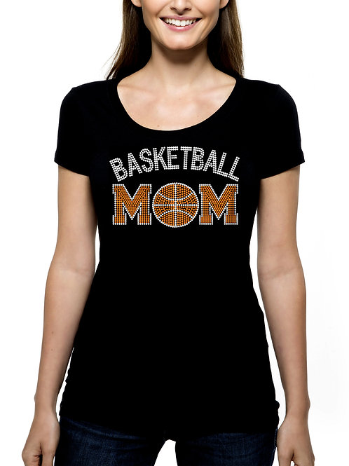Basketball Mom RHINESTONE T-Shirt or Tank Top - BLING Sport Mother Team Ball