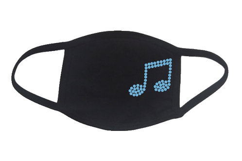 RHINESTONE Music Note face mask - bling band school musical marching