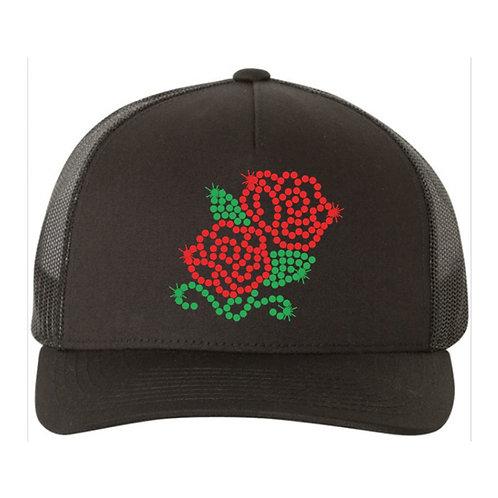 RHINESTONE Hat - Two Roses - bling trucker snapback flower plant 2 rose bloom