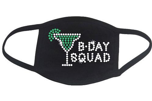 RHINESTONE Birthday Squad Margarita Glass face mask cover - bling bday b-day