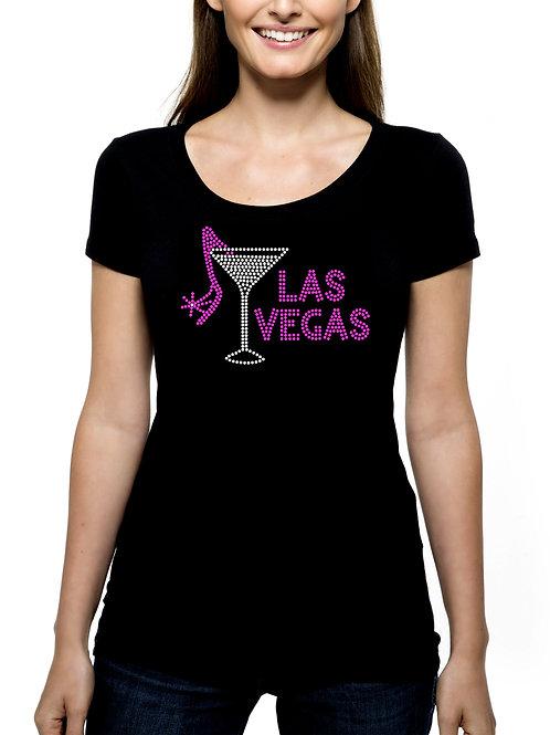 Las Vegas Martini Shoe RHINESTONE T-Shirt or Tank - BLING Nevada Casinos Trip