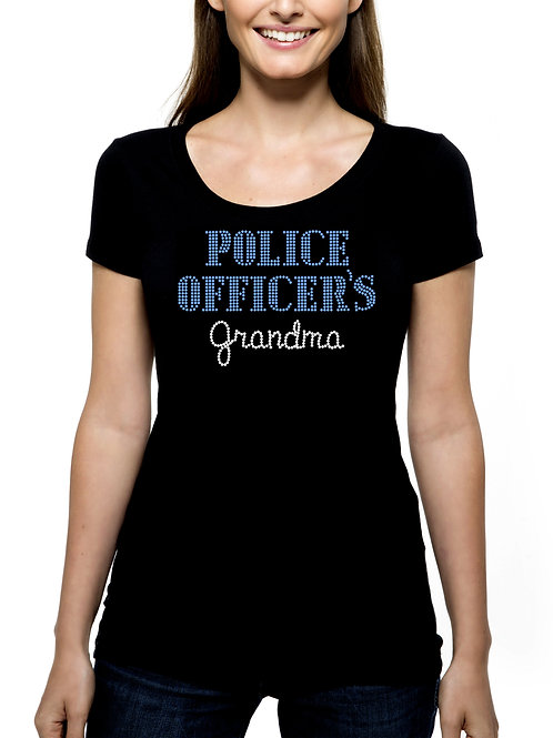 Police Officer's Grandma RHINESTONE T-Shirt or Tank Top - BLING Grandmother
