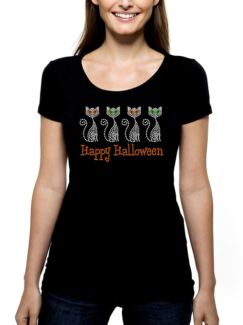 Cats Happy Halloween RHINESTONE T-Shirt or Tank Top - BLING Party Kitties