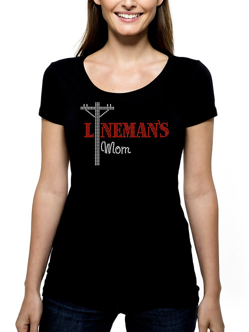 Lineman's Mom RHINESTONE T-Shirt or Tank Top - BLING Journeyman Power Mother Ma