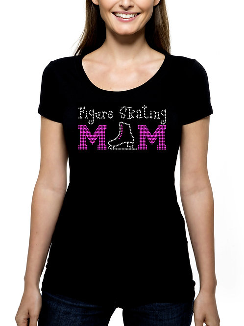 Figure Skating Mom RHINESTONE T-Shirt or Tank Top - BLING Sport Mother Skate