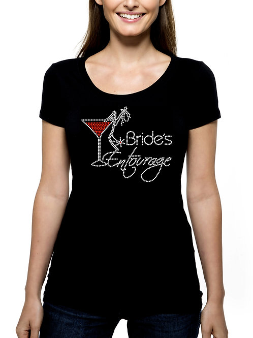 Bride's Entourage Martini Shoe RHINESTONE T-Shirt or Tank Top - BLING Bridal