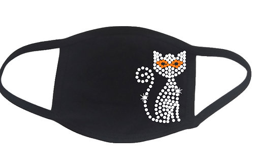 RHINESTONE Halloween Cat face mask - bling scary spooky cute kitty party animal