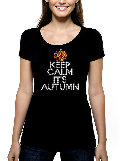 Keep Calm It's Autumn RHINESTONE T-Shirt or Tank Top BLING Fall Leaves Pumpkin
