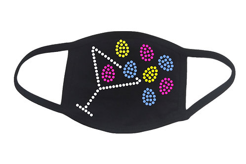 RHINESTONE Martini Spilling Easter Eggs face mask cover - bling holiday candy