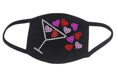 RHINESTONE Martini Spilling Hearts face mask cover - Valentine's Day love