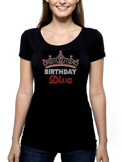 Birthday Diva Crown RHINESTONE T-Shirt or Tank Top - BLING Tiara Celebrate Fun