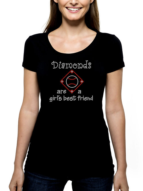 Diamonds are a Girl's Best Friend RHINESTONE T-Shirt or Tank Top BLING Softball