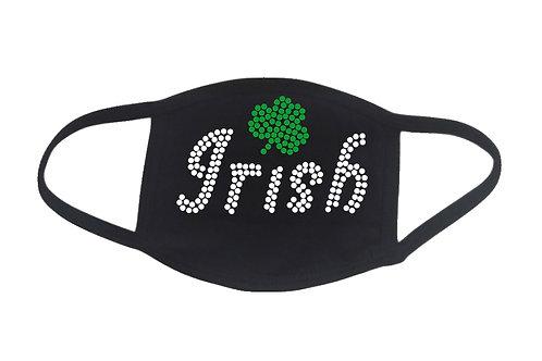 RHINESTONE Irish face mask cover - St Patrick's Day clover Pub Crawl celebrate