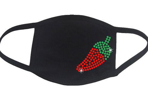 RHINESTONE Hot Pepper face mask cover - bling vegetable jalapeno serrano cayenne