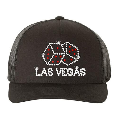 RHINESTONE Hat - Las Vegas Dice - bling trucker snapback gamble trip casino play