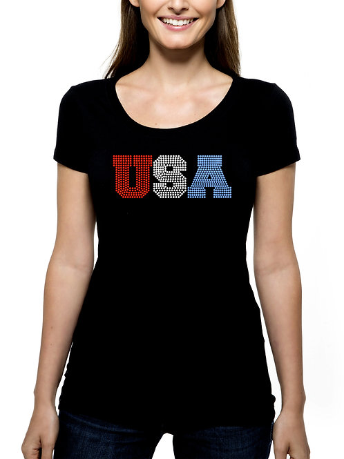 USA RHINESTONE T-Shirt or Tank Top BLING Independence Day 4th of July Patriotic