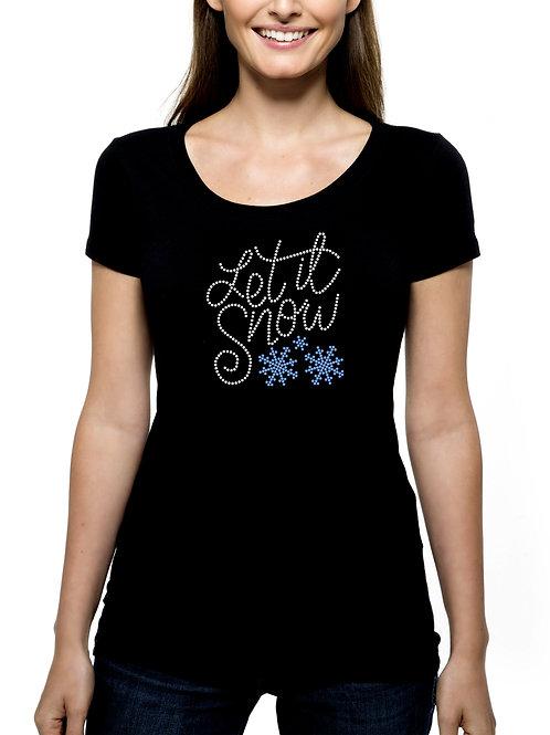 Let it Snow 2 RHINESTONE T-Shirt or Tank Top - BLING Winter Ski Skiing