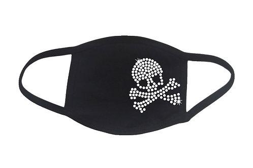 RHINESTONE Skull Crossbones Halloween face mask - bling skeleton scary bones