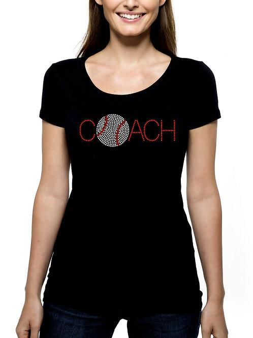Baseball Coach RHINESTONE T-Shirt or Tank Top BLING Sports Team Leader