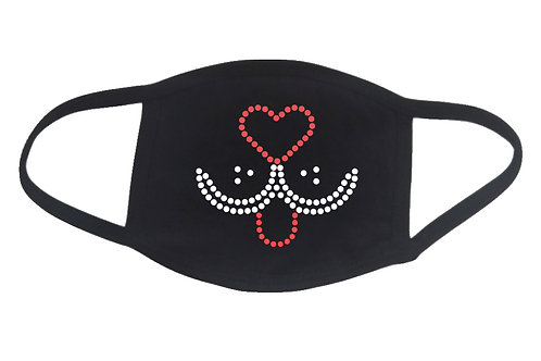 RHINESTONE Dog Face face mask cover - bling puppy puppies animals adopt rescue