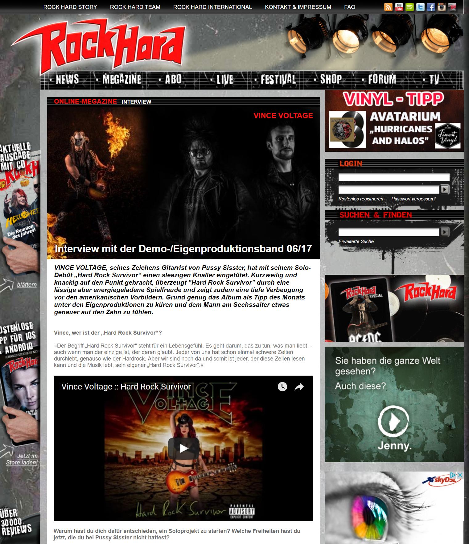 Rockhard magazine interview