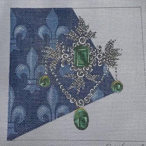 Silvery Jewelry with Green Gem