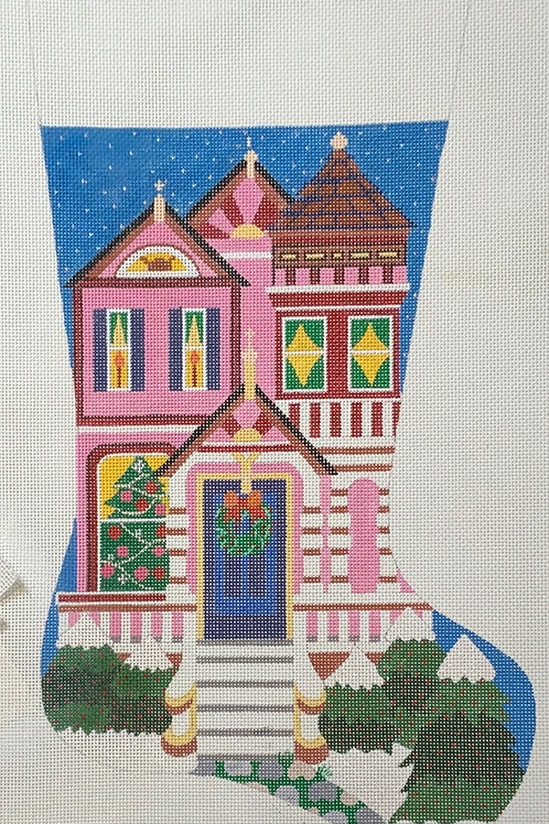 Pink House Stocking