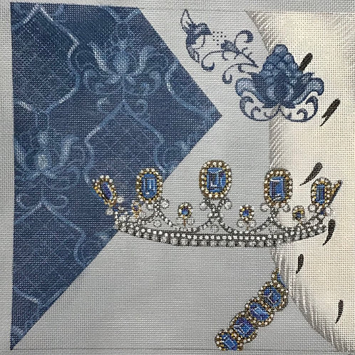 Silver Crown with Blue Jewels