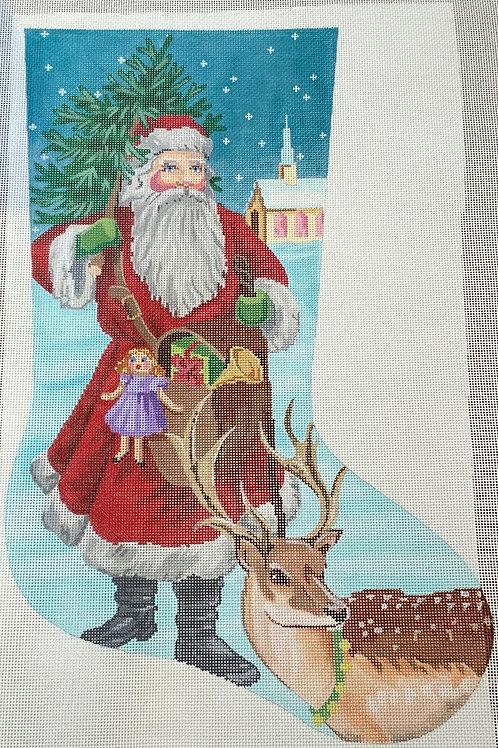Santa with deer Stocking