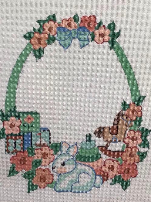 Bunny Wreath Birth Sampler