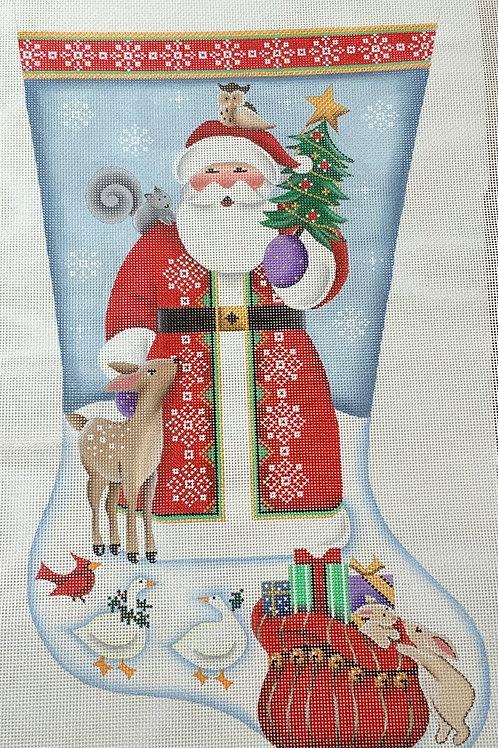 Santa with animals Stocking
