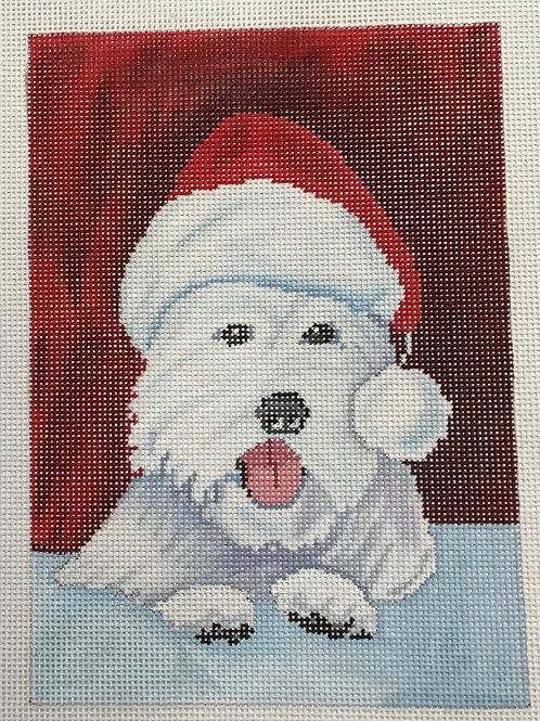 Westie with a Santa Hat