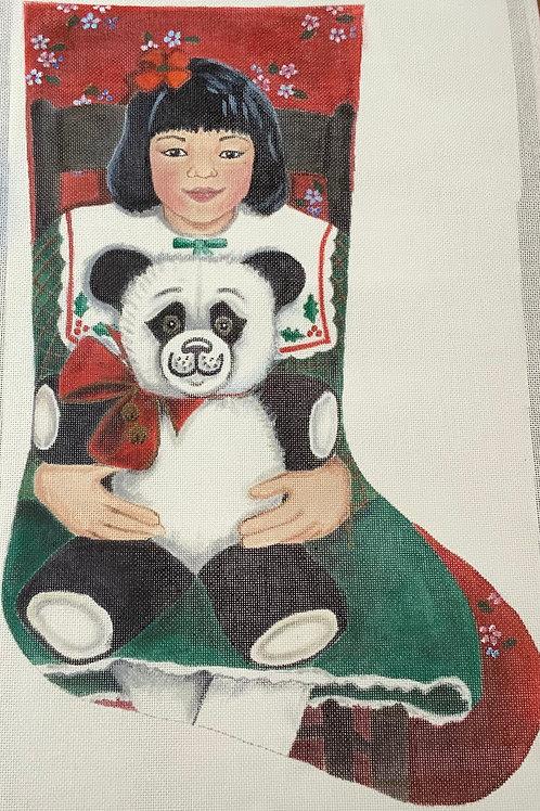 Girl with panda Stocking
